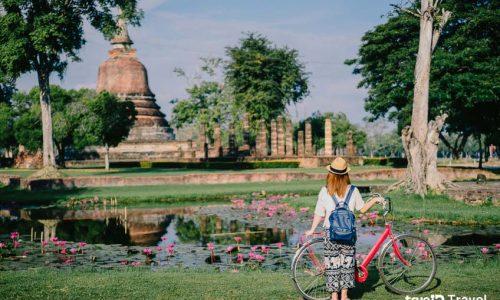 ออกทริปปั่นไหว้พระที่ อุทยานประวัติศาสตร์สุโขทัย การปั่นจักรยานเพื่อการท่องเที่ยวในระทางสั้น ๆ นั้นดูจะได้รับความนิยมไม่น้อยโดยเฉพาะ